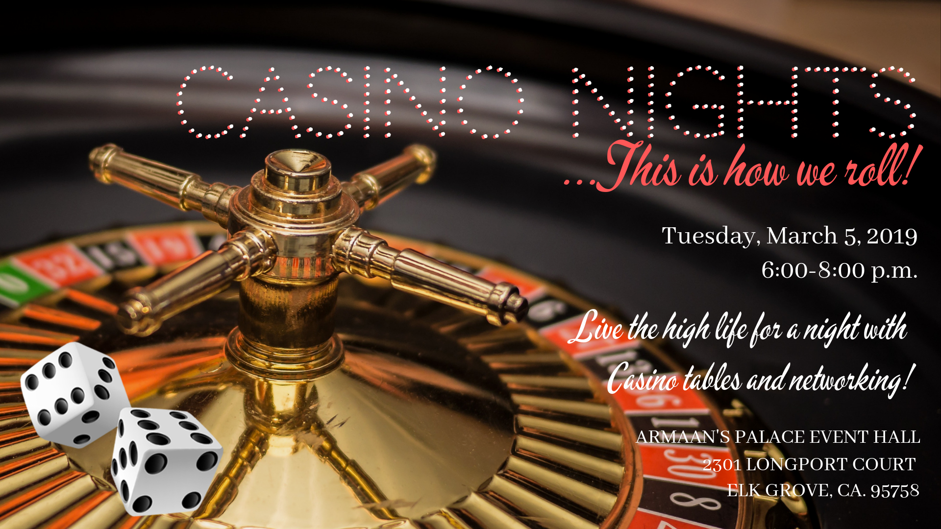 Casino Nights wedding professional networking mixer