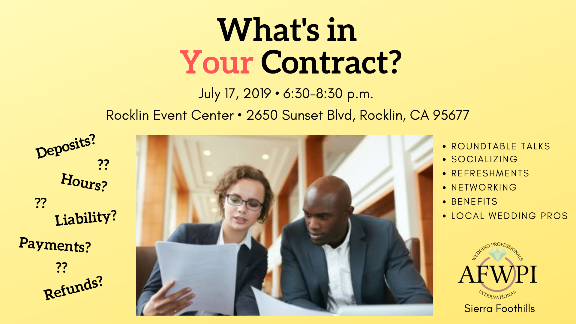 What's in Your Contract Placer wedding professionals networking mixer